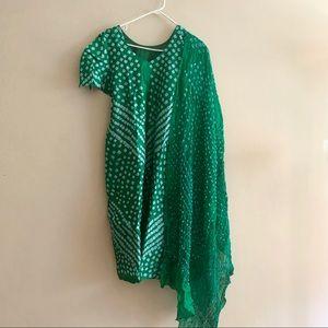 Forest Green Bandhej Silk Salwar Kameez size large